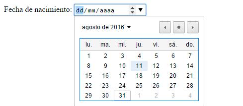 fechas y horas input type date
