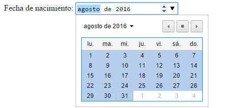 fechas y horas input type month