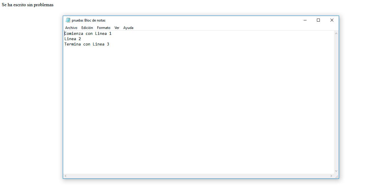 Crear y leer archivo en php - Resultado